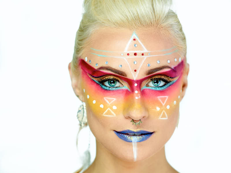 Acting Headshot - Female with face paint on white background